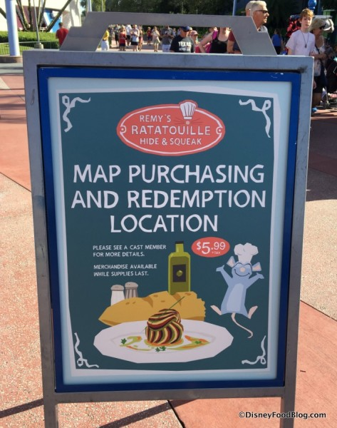 Remy's Hide & Squeak Map Purchasing Location sign