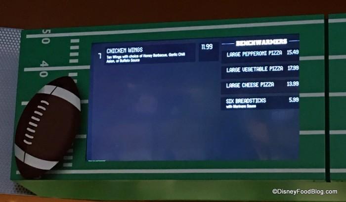 End Zone Food Court menu