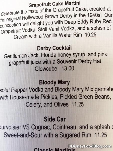 Brown Derby Drink Menu Featuring the Derby Cocktail