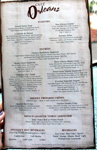 Cafe Orleans Menu (click to enlarge)