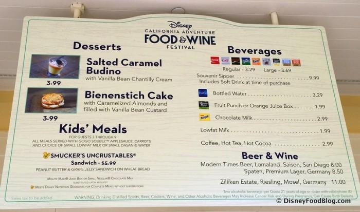 Disney California Adventure Food and Wine Festival 17_-004 Paradise Garden Grill Menu