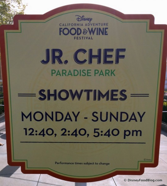 Jr. Chef Sign from 2017 Disney California Adventure Food and Wine Festival