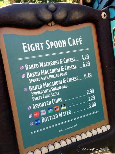 Eight Spoon Café Menu