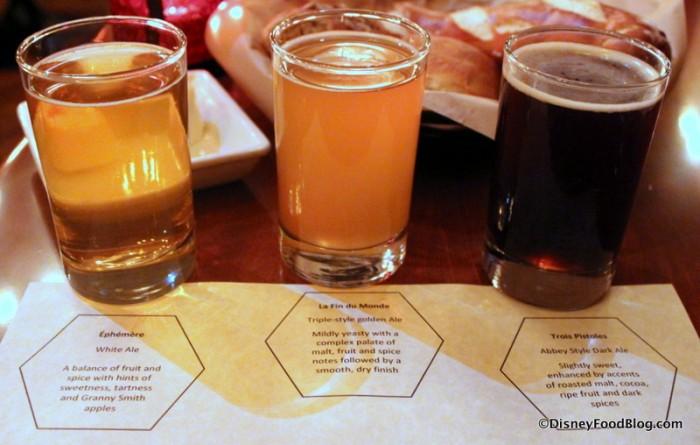 Unibroue Beer Flight -- Éphémère, La Fin du Monde, Trois Pistoles