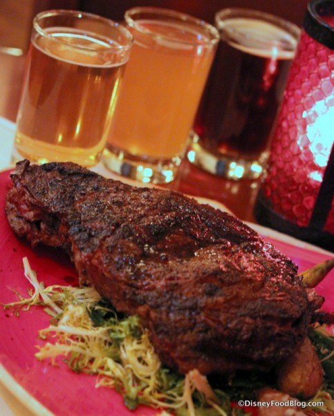 Coffee Rubbed Rib Eye and Unibroue Beer Flight