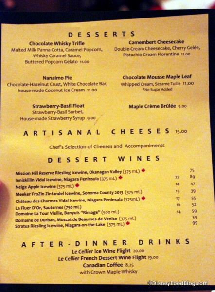 Dessert Menu -- Click to Enlarge