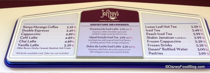 Joffrey's Revive Menu