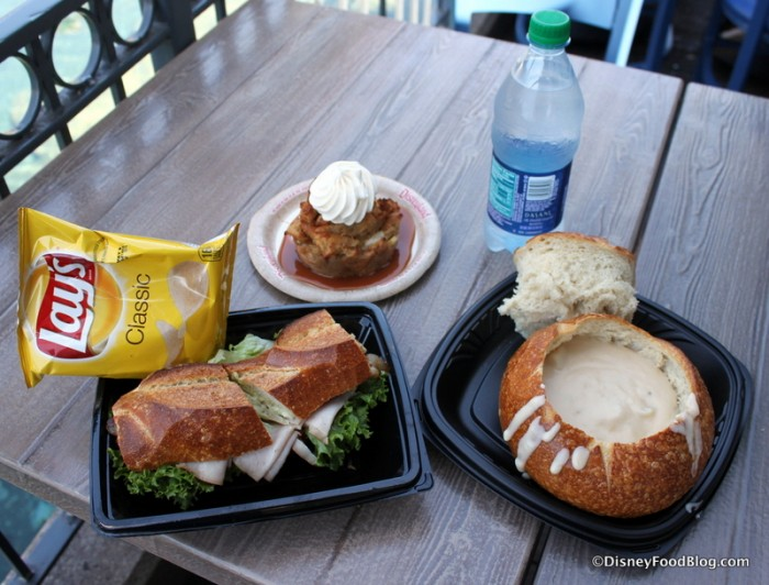 Our Lunch! Turkey Pesto Club and Loaded Baked Potato Soup in a Sourdough Bread Bowl