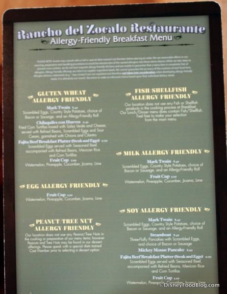 Allergy Menu -- Click to Enlarge