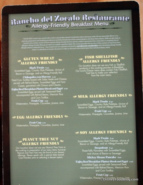 Allergy Menu -- Click to Enlarge