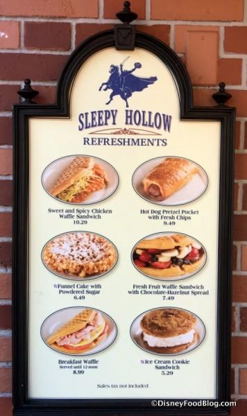 Sleepy Hollow Featured Items Menu