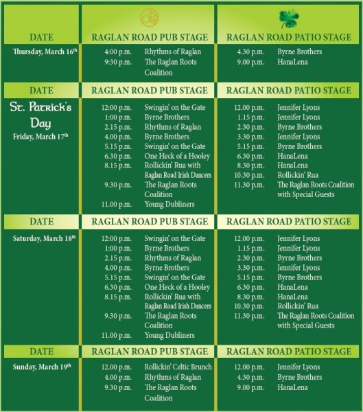 Full 2017 Raglan Road Mighty St. Patrick's Day Festival Schedule