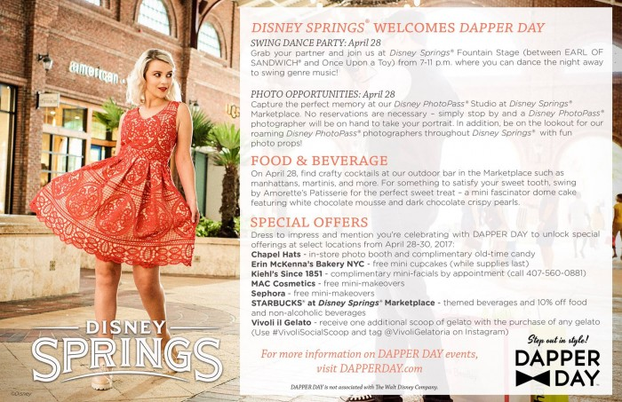 Dapper Day events in Disney Springs! ©Disney