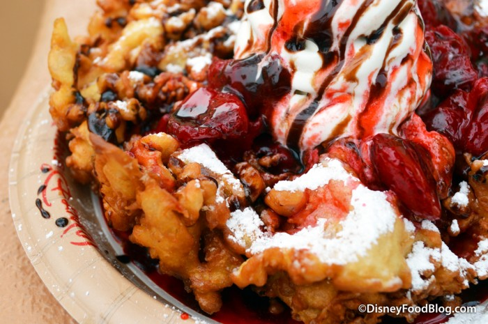 Funnel Cake with Vanilla Soft Serve, Strawberry Sauce, and Chocolate Drizzle -- Up Close