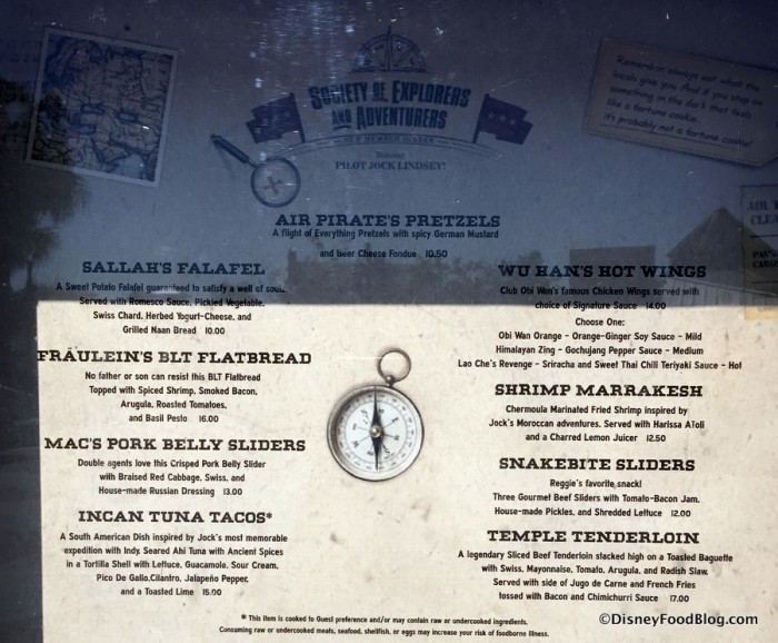 Hangar Bar Menu