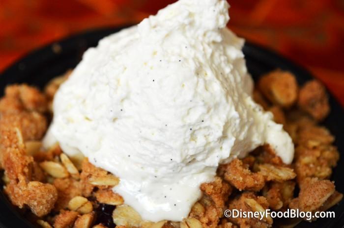 Vanilla Bean Cream on Apple Crisp