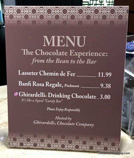 The Chocolate Experience Menu