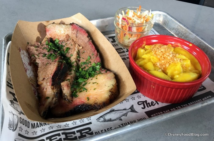Brisket with slaw and Mac and Cheese