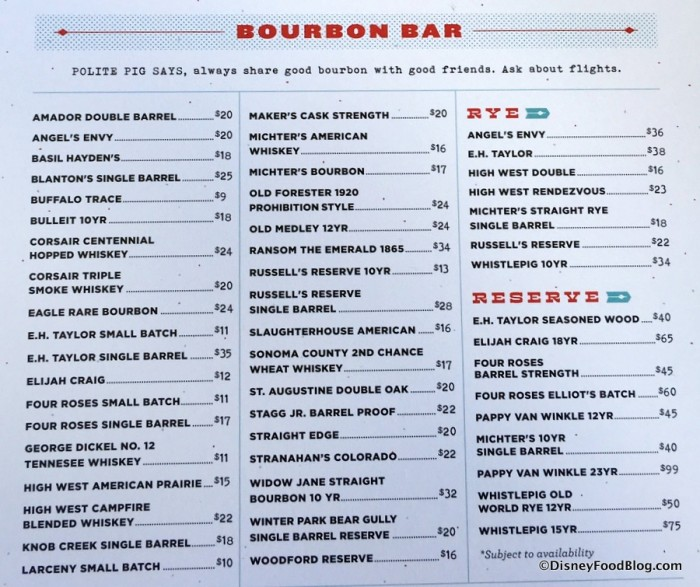 Bourbon Bar Menu