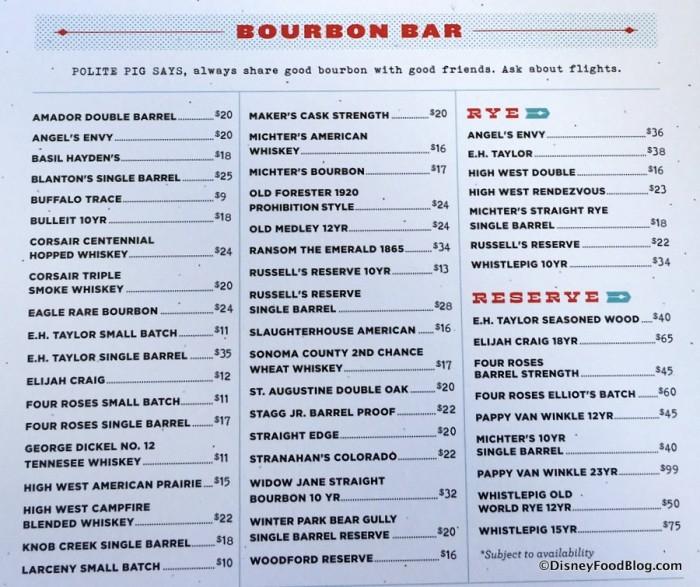 Bourbon Bar Menu