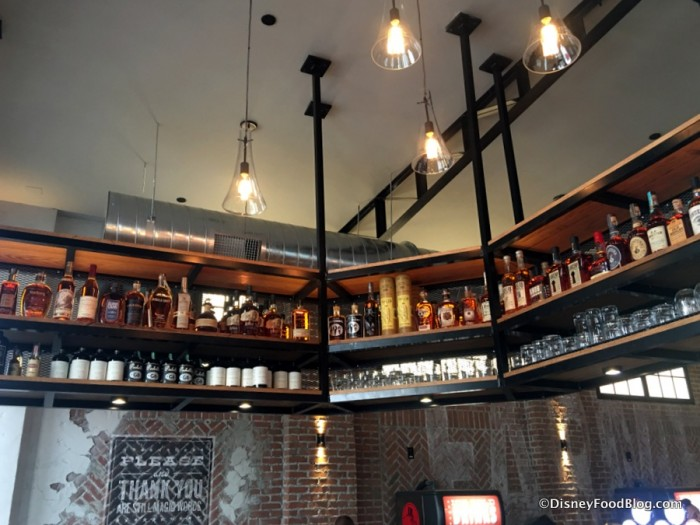 Bottles above bar