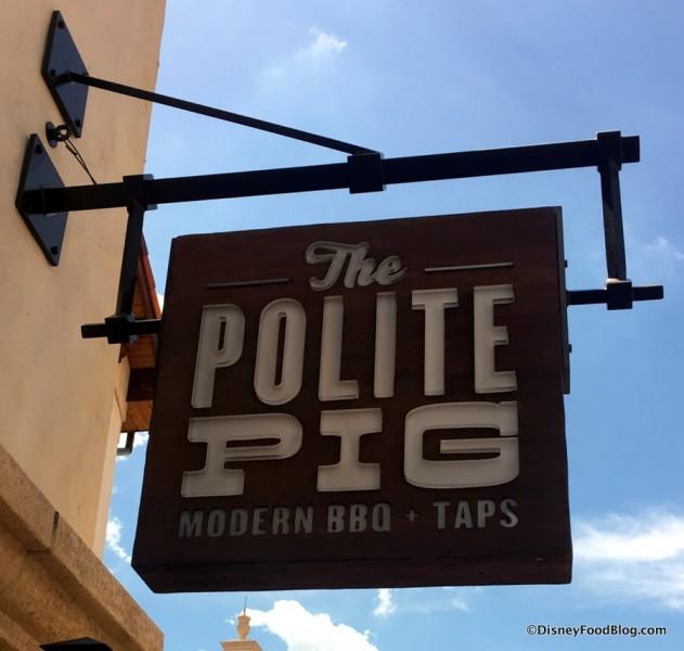 The Polite Pig sign