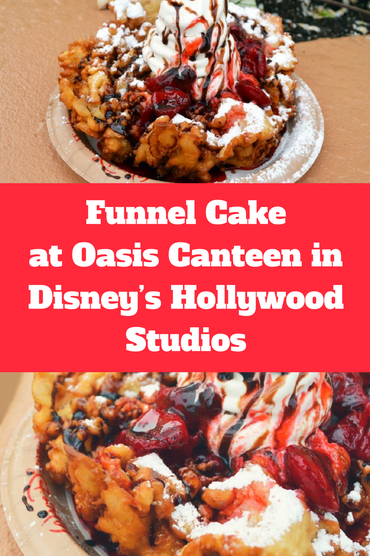 Funnel Cake with Strawberry Topping and Soft Serve Vanilla Ice Cream at Oasis Canteen in Disney's Hollywood Studios