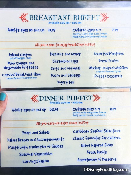 Buffet Menu -- Click to Enlarge