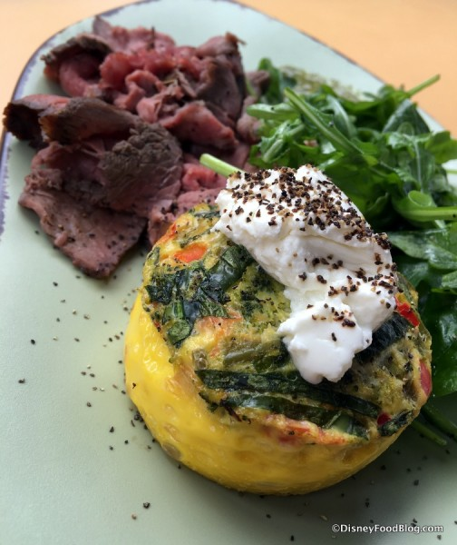Vegetable-Goat Cheese Frittata with Wood-fired Herb-crusted Beef and Chimichurri
