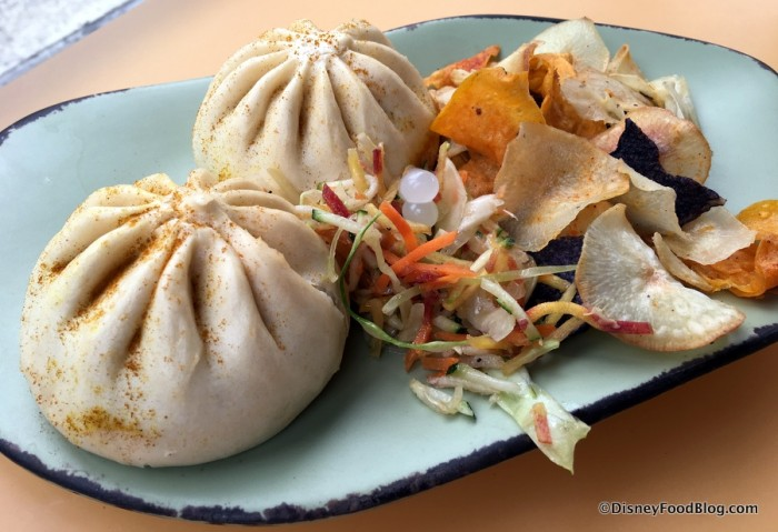 Vegetable Steamed Curry Buns with crunchy slaw and  vegetable chips