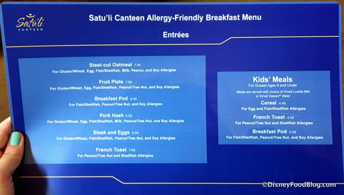 Allergy-friendly Breakfast Menu