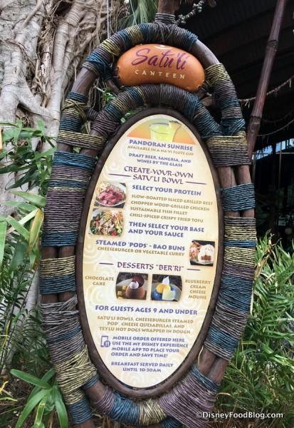 Satu'li Canteen outdoor menu
