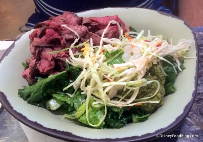 Beef over Kale and Romaine salad with Charred Onion Chimichurri Dressing