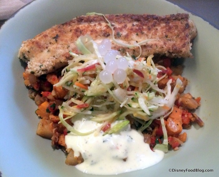 Sustainable Fish option with a base of Red and Sweet Potato Hash served with Creamy Herb Dressing