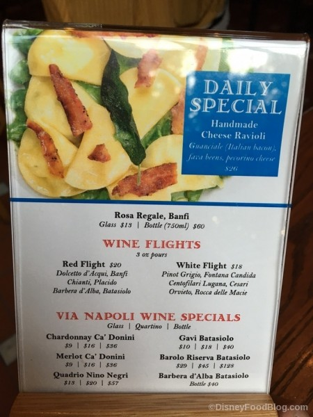 Via Napoli Daily Specials