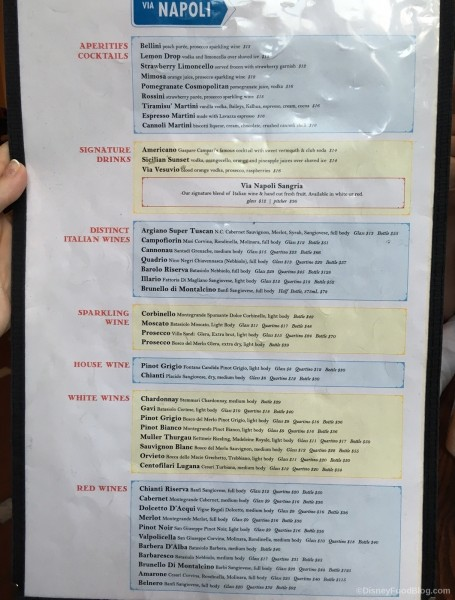 Via Napoli Drink Menu