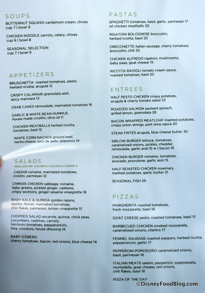 Wolfgang Puck Cafe Menu