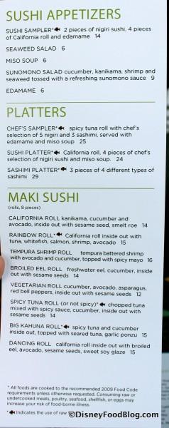 Wolfgang Puck Cafe Sushi Menu