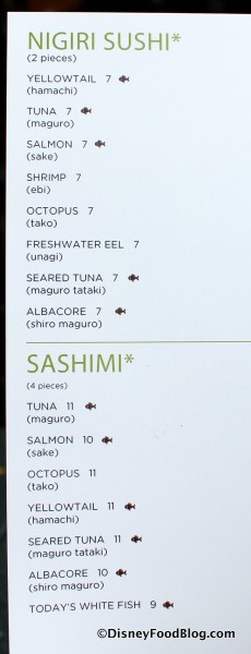 Wolfgang Puck Cafe Sushi Menu