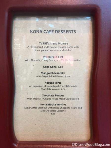 New dessert menu at Kona Cafe