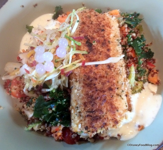 Sustainable Fish with Quinoa and Vegetable Salad and Creamy Herb Dressing