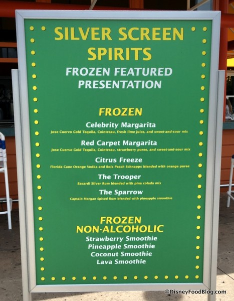 Silver Screen Spirits Frozen Specialties Menu