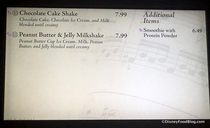 Intermission Food Court Milkshake Menu