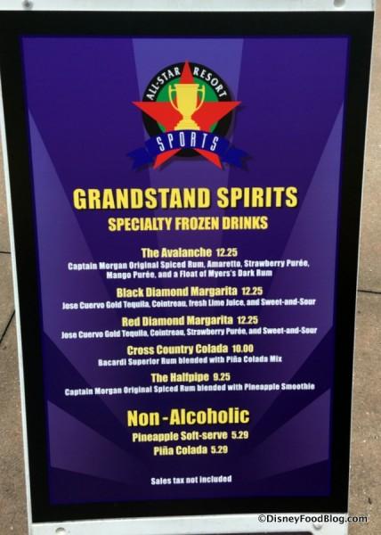 Grandstand Spirits Frozen Specialties Menu
