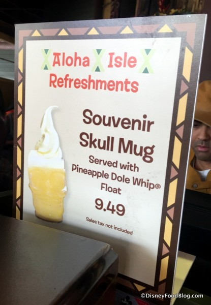 Souvenir Skull Mug Sign at Aloha Isle