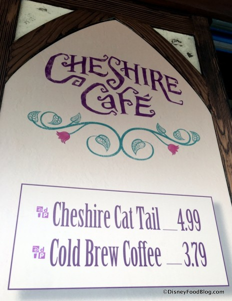 Cheshire Cafe Partial Menu