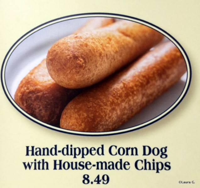 Close-up of Hand-dipped Corn Dogs on the menu
