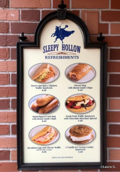 Menu at Sleepy Hollow Refreshments