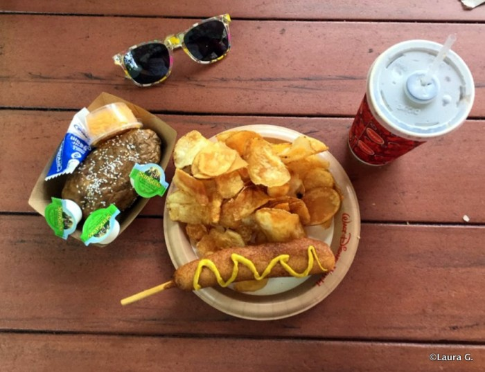 Hand-Dipped Corn Dog and Chips (and a Baked Potato!) from Sleepy Hollow