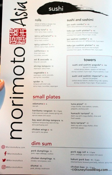 Menu -- Sushi, Small Plates, and Dim Sum -- Click to Enlarge